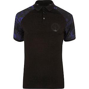 Schwarzes Muscle Fit Polohemd mit geometrischem Muster