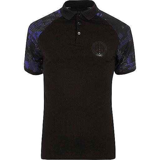 Black geo print raglan muscle fit polo shirt
