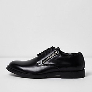 Black zip lace-up formal shoes