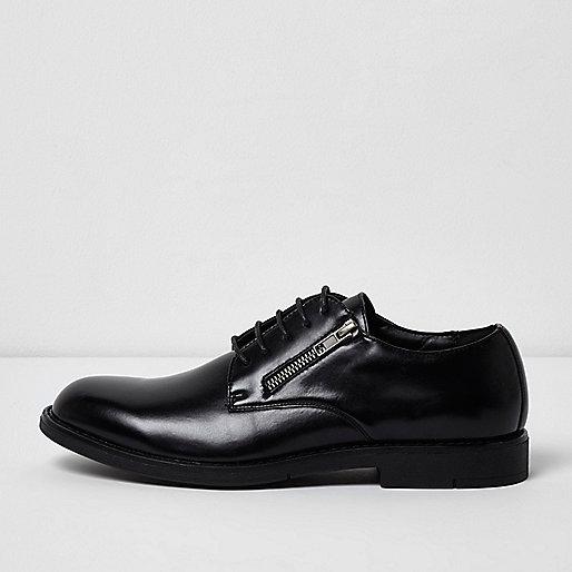 Black zip lace-up formal shoes