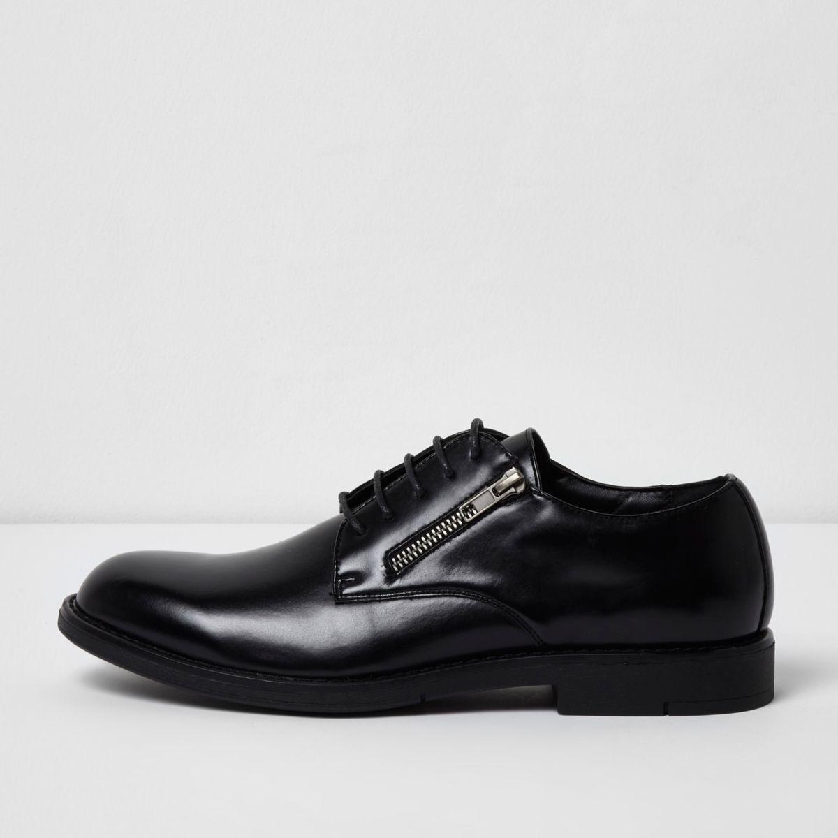 Chaussures habillées noires zippées à lacets
