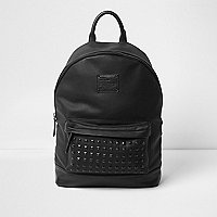 Black studded front faux leather backpack