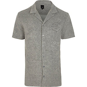 Grey towel revere print slim fit shirt