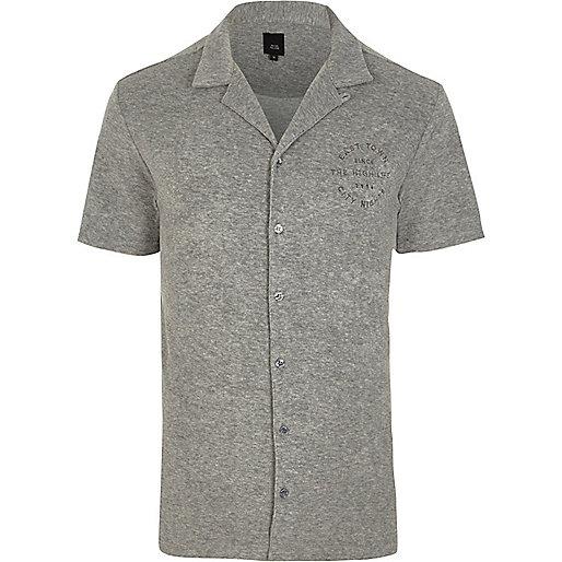 Grey towel revere print slim fit shirt