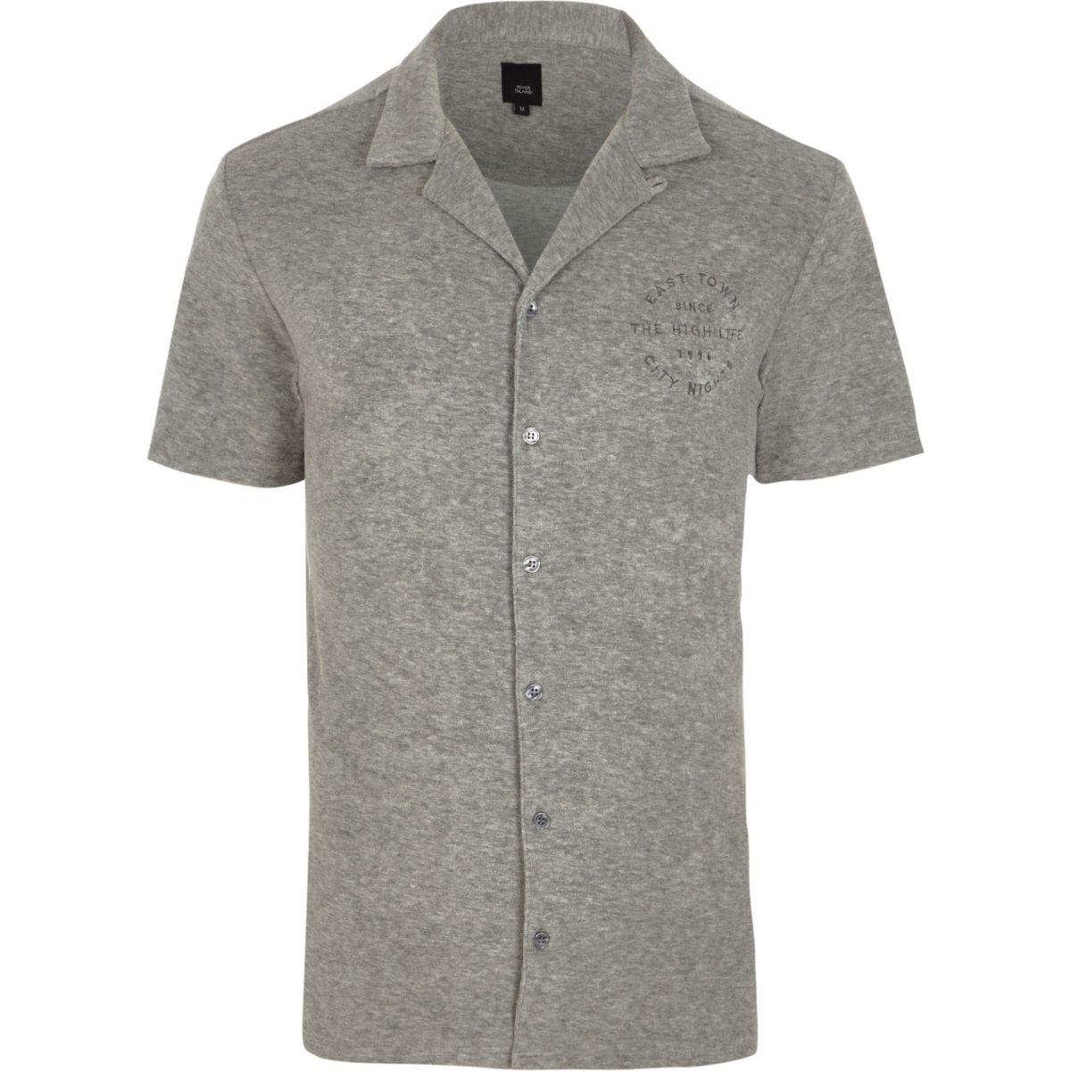 graues slim fit hemd mit print hemden sale herren. Black Bedroom Furniture Sets. Home Design Ideas