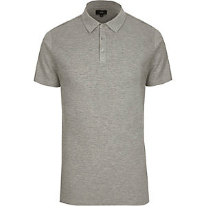 Grey waffle slim fit polo shirt