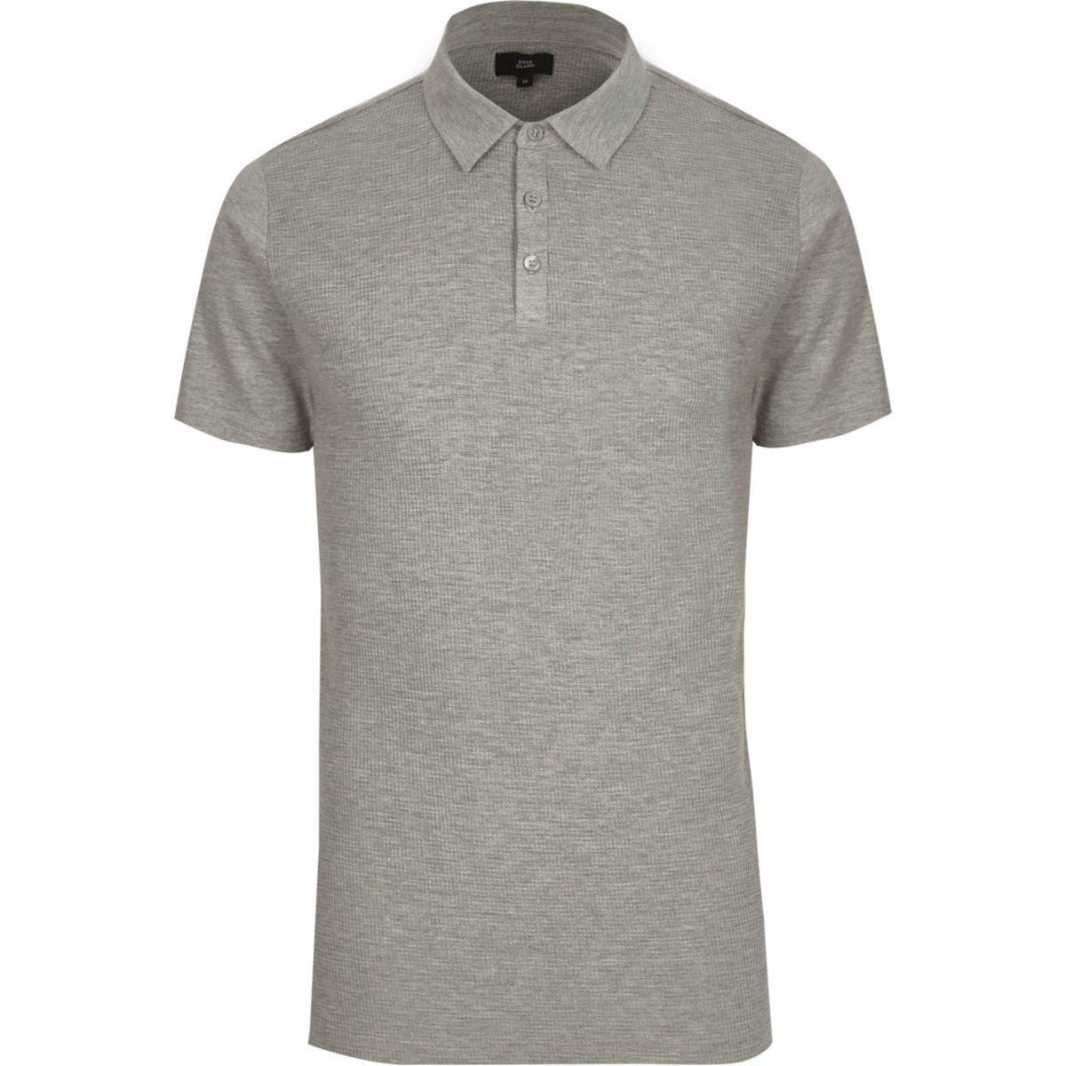 Grey waffle slim fit polo shirt