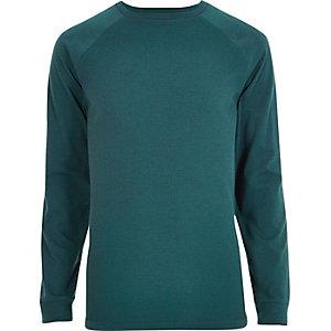 Turquoise slim-fit T-shirt met raglanmouwen