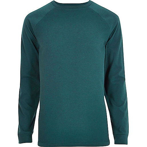 Turquoise raglan sleeve slim fit T-shirt
