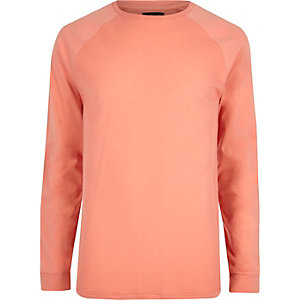 T-shirt ras du cou en maille nid d'abeille orange à manches raglan