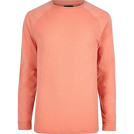 Orange waffle crew neck raglan sleeve T-shirt