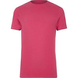 T-shirt ajusté rose à col ras du cou