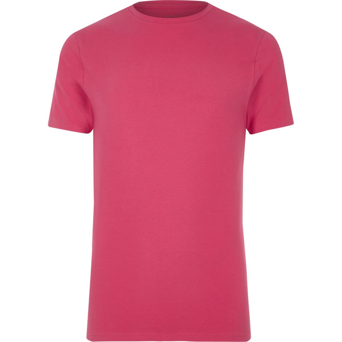 Pink crew neck muscle fit T-shirt