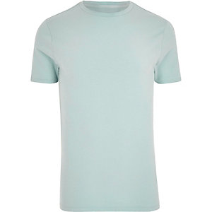 Light green crew neck muscle fit T-shirt