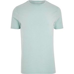 Light green crew neck muscle fit T-shirt