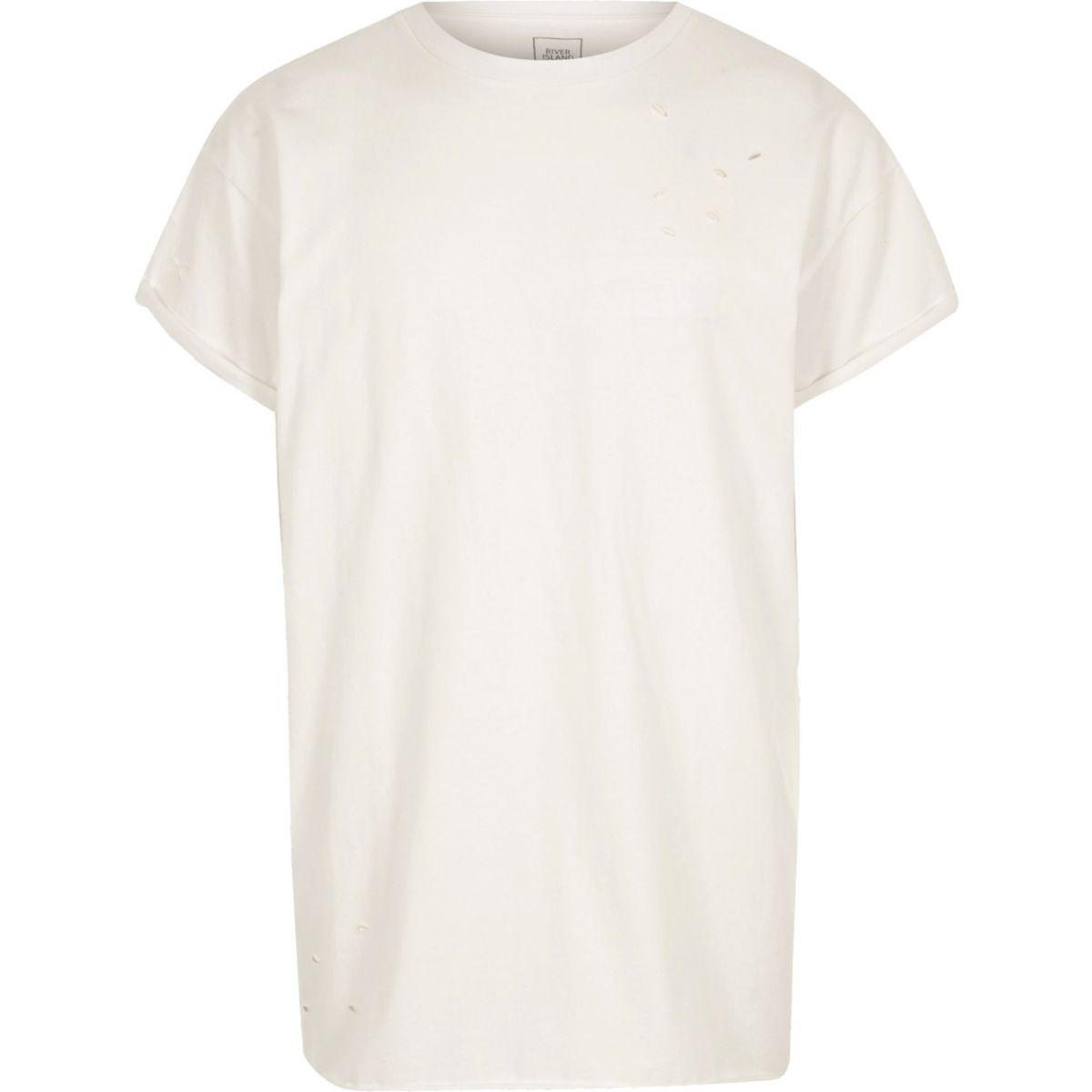 Cream distressed slouch T-shirt
