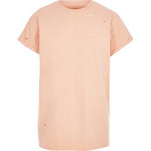 T-shirt orange large à effet usé