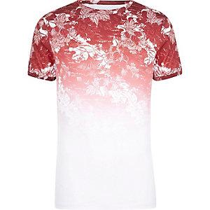 T-shirt ajusté imprimé fleuri délavé blanc et rouge