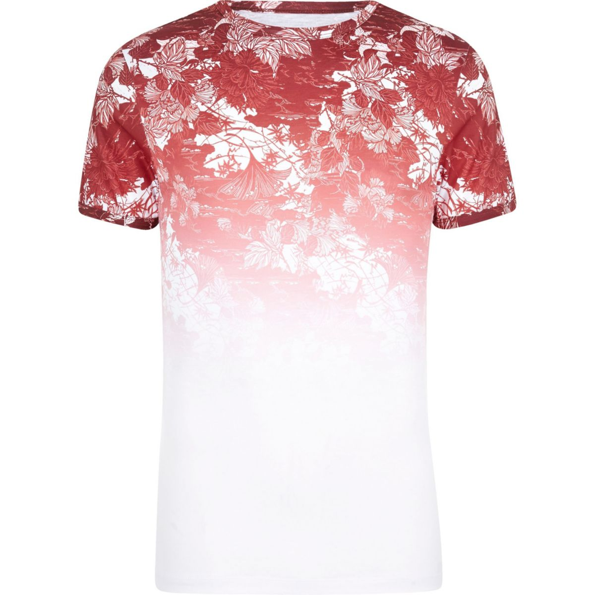 White and red floral fade muscle fit T-shirt