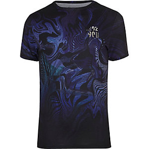 T-shirt à imprimé abstrait bleu ajusté