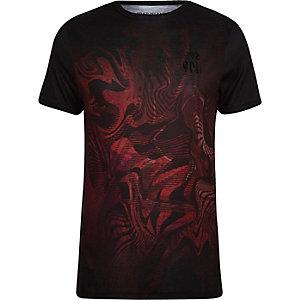 T-shirt ajusté imprimé abstrait rouge délavé