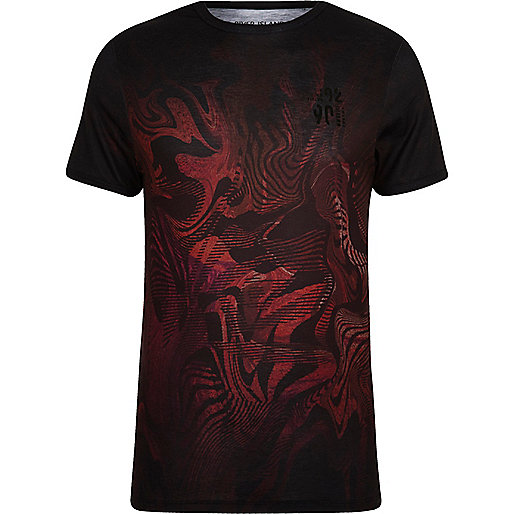 Red fade abstract print muscle fit T-shirt