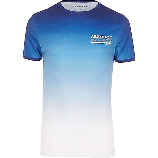 Blue 'Abstract' fade print muscle fit T-shirt