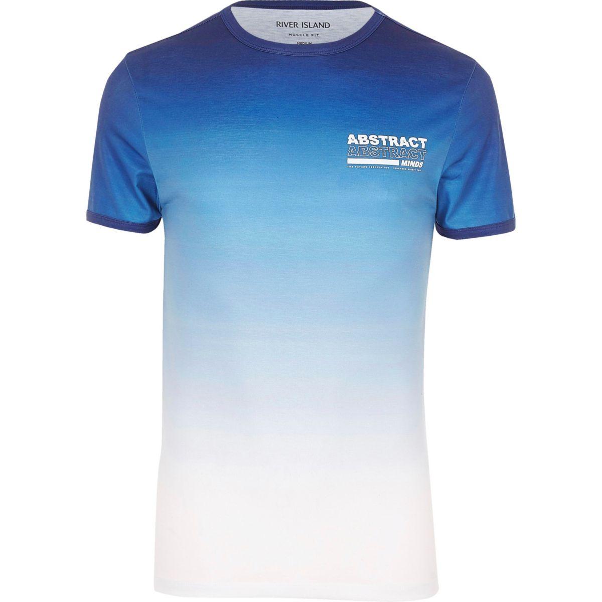 T-shirt ajusté imprimé «Abstract» délavé bleu