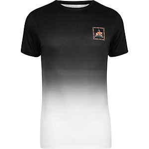 Black fade 'NYC' print muscle fit T-shirt