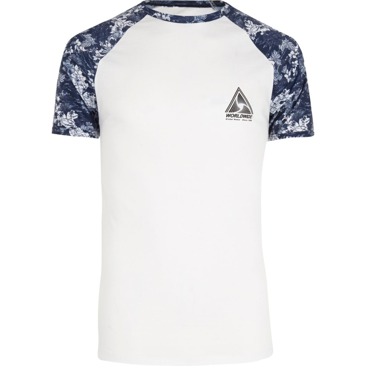 White floral raglan sleeve muscle fit T-shirt
