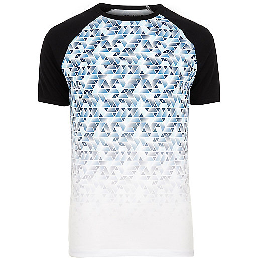 White geo fade raglan sleeve T-shirt