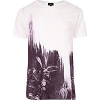 White floral drip fade print T-shirt