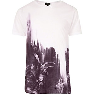 White floral fade print T-shirt