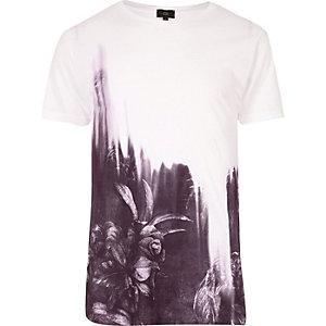 Wit T-shirt met bloemenprint en kleurverloop