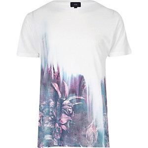 T-shirt coupe slim imprimé fleuri blanc et rouge délavé