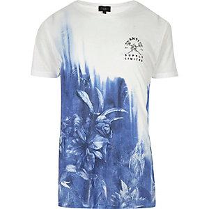 Wit-blauw vervagend slim-fit T-shirt met bloemenprint