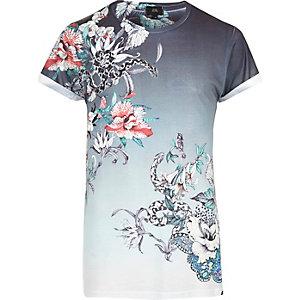 T-shirt imprimé serpent et fleurs blanc délavé