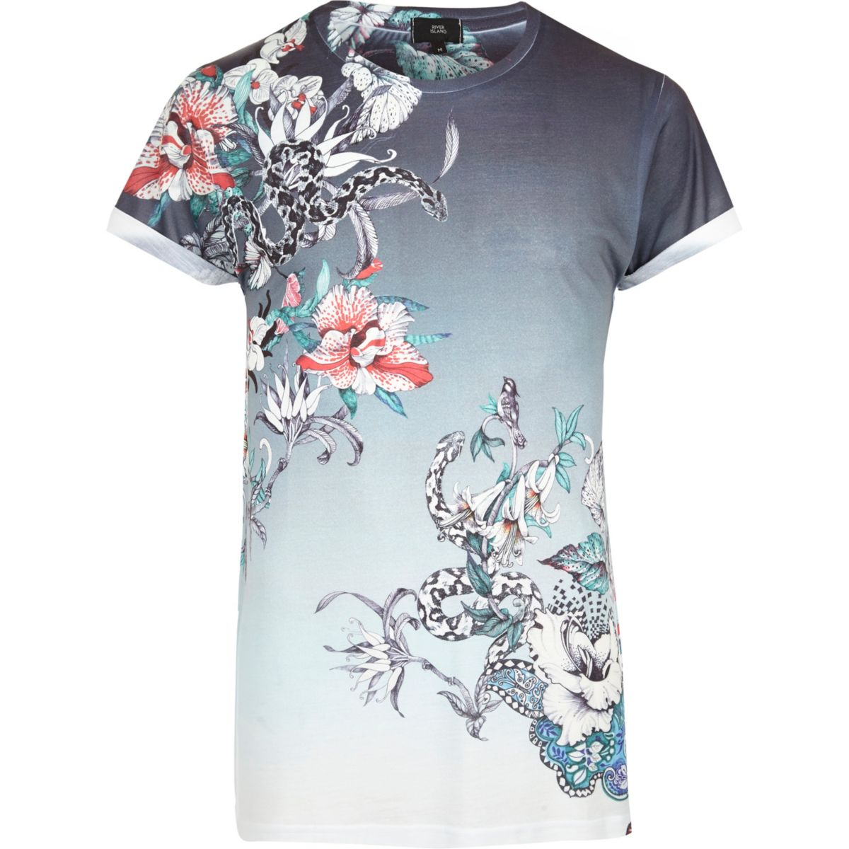 White fade floral snake print t shirt t shirts vests for Floral mens t shirts