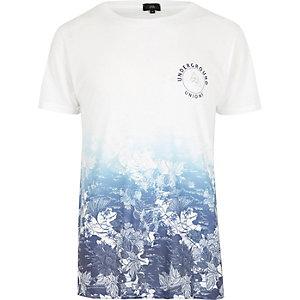 T-shirt blanc à fleurs en dégradé à col ras-du-cou