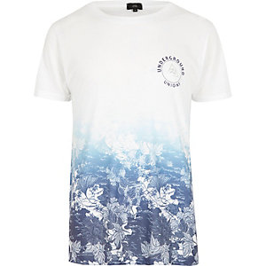 Wit T-shirt met bloemenprint, ronde hals en kleurverloop