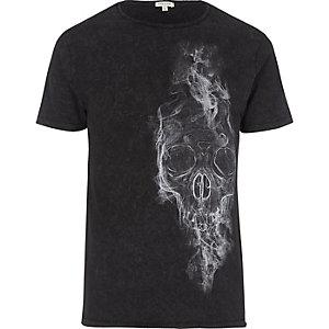 Zwart washed T-shirt met doodshoofdprint