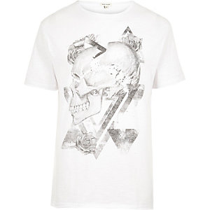 Wit washed T-shirt met doodshoofdprint