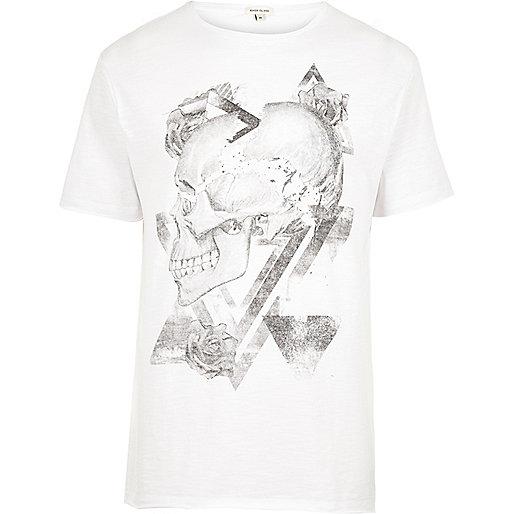 White washed skull print T-shirt