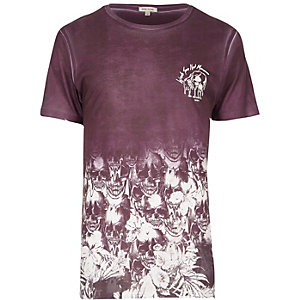 Dark red fade skull fade print washed T-shirt