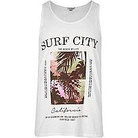 White 'Surf City' print tank