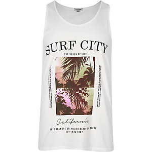 White 'Surf City' print vest