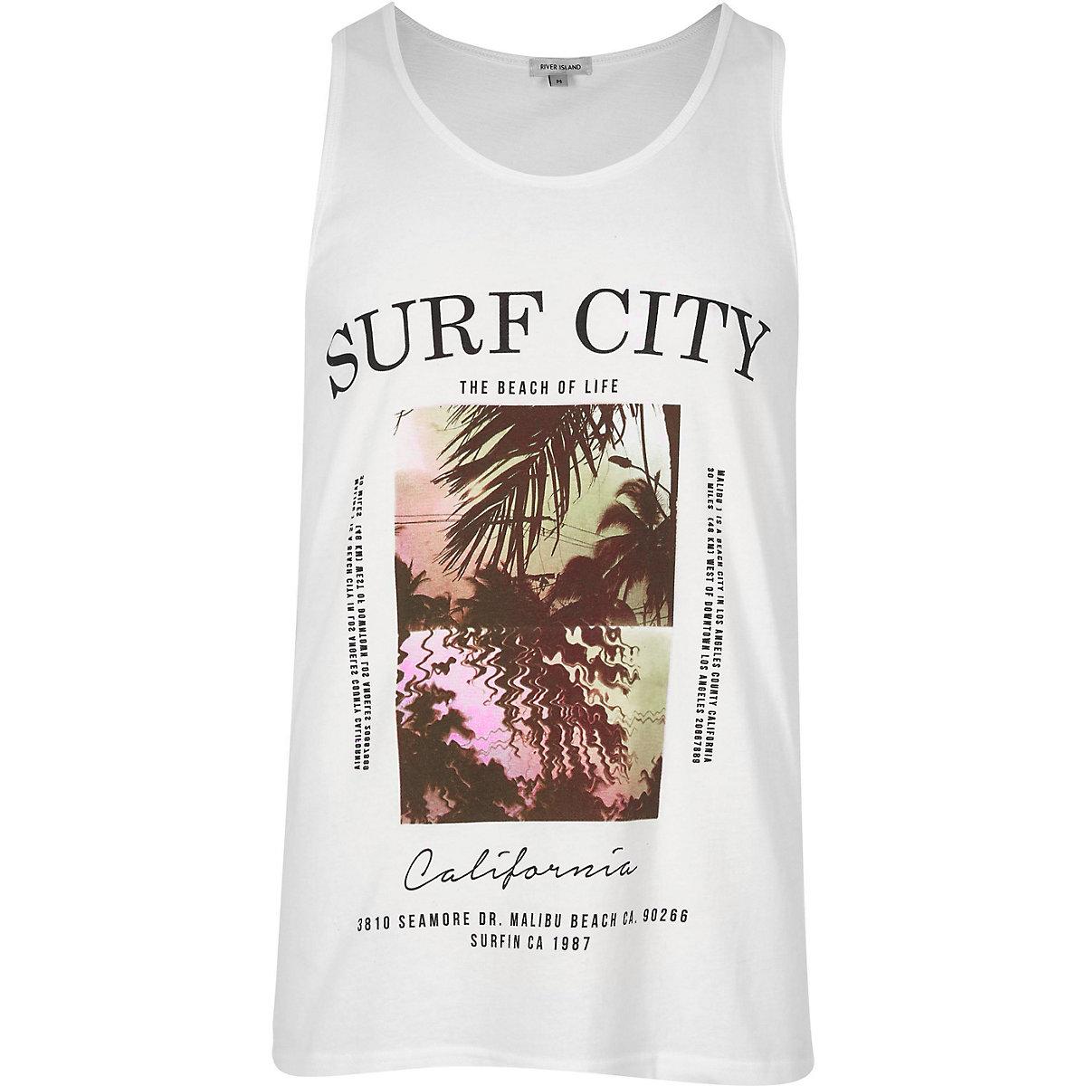 White 'Surf City' print vest