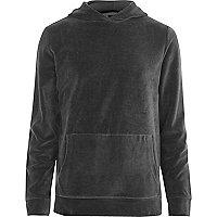 Dark grey velour long sleeve hoodie