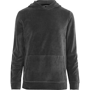Donkergrijze velours hoodie met lange mouwen