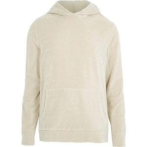 Kiezelkleurige velours hoodie met lange mouwen
